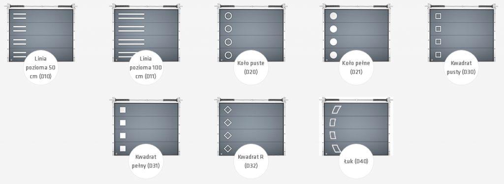 Brama garażowa segmentowa STANDARD 40mm - aplikacje ozdobne